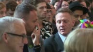 Funeral of victim Martyn Hett INT **Music heard SOT** Antony Cotton in congregation Coffin of Martyn Hett being carried by pallbearers at funeral