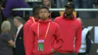 Manchester football teams react SWEDEN Stockholm EXT Various of Manchester United players including Wayne Rooney and Jose Mourinho on pitch during...