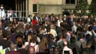 Reaction of the people of Manchester / Vigil in Albert Square ENGLAND Manchester Albert Square EXT Crowds gathering in Albert Square ahead of vigil...