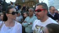 Reaction of the people of Manchester / Vigil in Albert Square ENGLAND Manchester St Peters Square EXT High angle view crowd of people in square for...