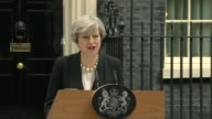 Theresa May statement ENGLAND London Downing Street PHOTOGRAPHY** Theresa May departing Number 10 and reading statement to press SOT I have just...
