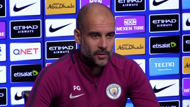 Manchester City manager Pep Guardiola gives a press conference to preview the team's Premier League game against Burnley