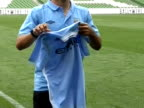 Manchester City Unveil New Signing Sergio Aguero in Dublin ahead of the Dublin Cup in July 2011 Sergio Aguero at Croke Park on July 29 2011 in Dublin...