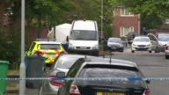 Manchester police investigate teenager stabbed to death in Moss Side ENGLAND Manchester Moss Side EXT Various of police cordon with forensic tent at...