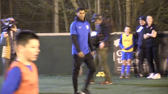 Manchester United and England attacker Marcus Rashford returns to his childhood club Fletcher Moss Rangers in Manchester as part of the McDonald's...