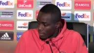 Manchester United defender Eric Bailly speaks in a press conference ahead of the team's Europa League clash with StEtienne