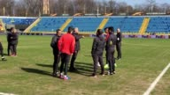 Manchester United players acquaint themselves with a poor playing surface ahead of their Europa League last 16 encounter against Russian side FC...