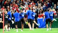 Manchester United players attend a training session in Sydney ahead of their football match against an Australian A League All Stars side CLEAN...