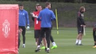 Manchester United train ahead of their Champions League group stage match against FC Basle at Old Trafford Footage includes shots of manager Jose...