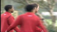 Manchester United training Wayne Rooney with Alan Smith and others passing ball