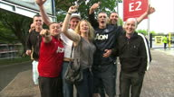 Manchester United's manager David Moyes was sacked on Tuesday 22 April 2014 Shows exterior shots of Manchester United fans walking outside Old...