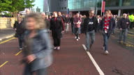 Manchester United's manger David Moyes was sacked on Tuesday 22 April 2014 Shows exterior shots of supporters outside Old Trafford with arty shots of...