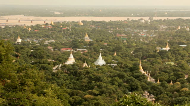Mandalay with lake mountains from mandalay hill at sunset, Burma