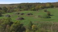 WS TU AERIAL POV Mandan earthlodge village at Fort Abraham Lincoln State Park / Mandan, North Dakota, United States