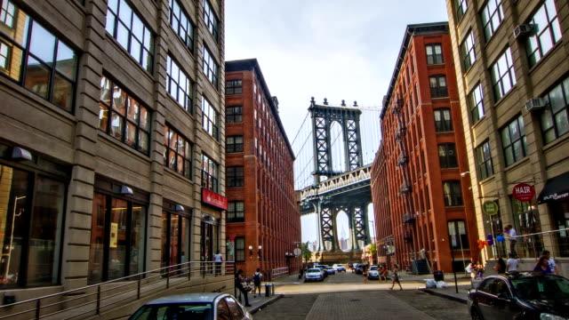 Manhattan Bridge seen between buildings in New York city