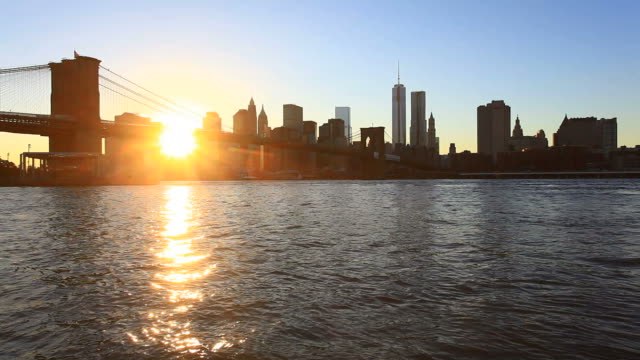Manhattan Skyline and Brooklyn Bridge at Sunset, HD Video