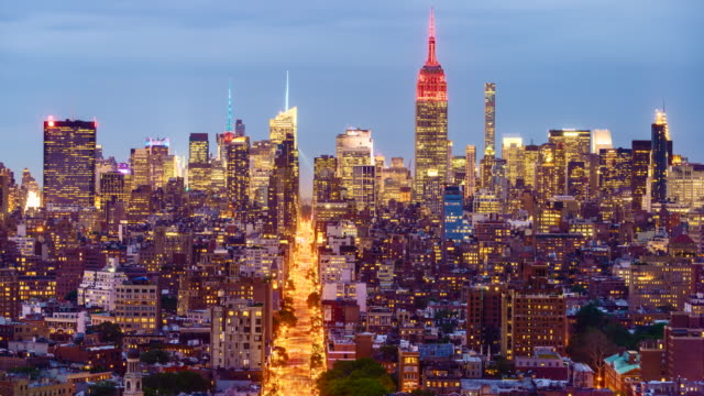 Manhattan skyline, day to night time lapse