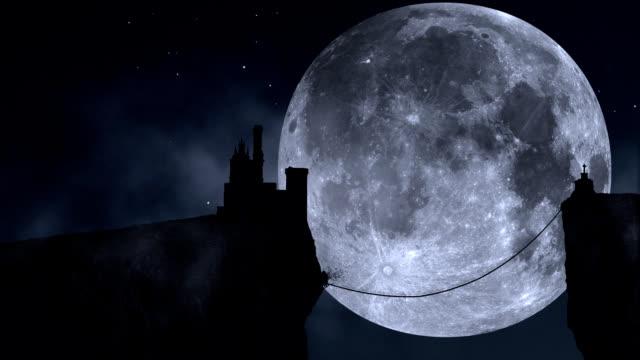 Manoir en pleine lune