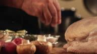 SLO MO, CU, Man's hand pouring salt on chicken