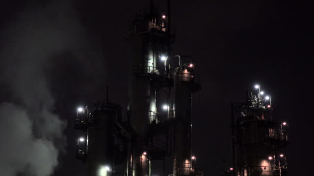 Manufacturing plant at night