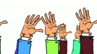 Many Cartoon Hands pop up, wave and go down again