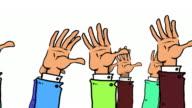 Viele Cartoon Hände hoch, wave und gehen Sie es erneut