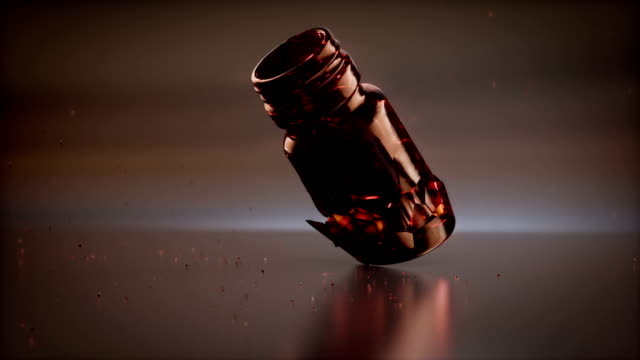 Many colored pills and broken jar 3d rendering