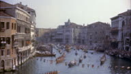 MS Many gondolas in water carnival along grand canal / Venice,  Italy