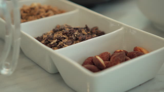 Many nuts, which are ingredients in bread,Close-up