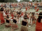 Maoris dancers perform a dance for Queen Elizabeth at Rotorua during her Silver Jubilee tour of New Zealand 1977