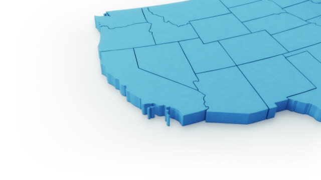 USA map by states. West and East sides. Blue version.