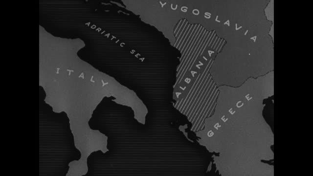 MAP Map of Albania Italy Yugoslavia Greece