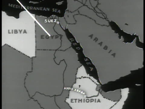 MAP Map of animated arrow cutting through North Africa to Djibouti