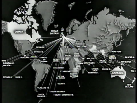 MAP Map of British possessions across the world alliance lines stemming from Great Britain animation of all British lands coming together WWII