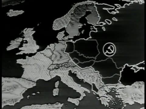 MAP Map of Europe Russia Communist logo over Russia NATO members highlighted Soviet Union