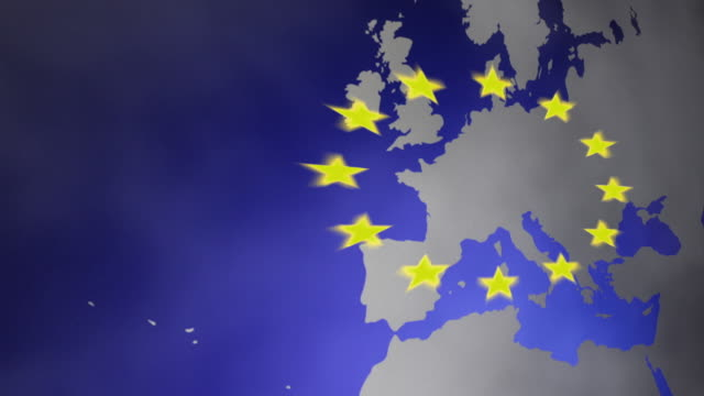 CGI Map of Europe with European flag stars