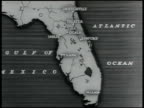 MAP Map of Florida CU Animated map showing location of canal moving down St John River moving west at Palatka moving under Ocala into Gulf of Mexico...