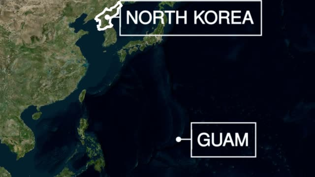 A map showing the locations of the United States North Korea and Guam as rhetoric between the two nuclear powers steps up