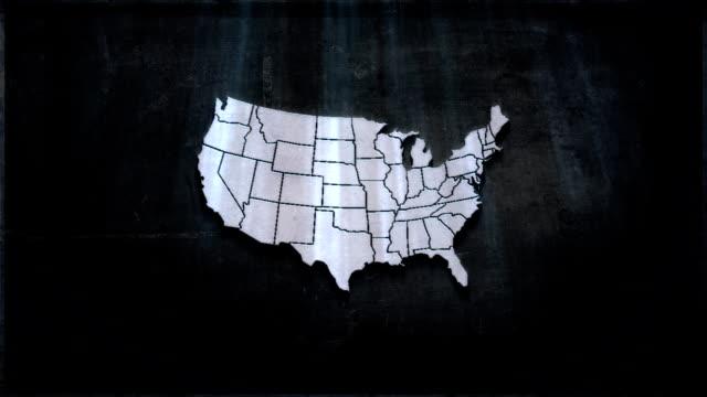 Map USA metal