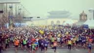 MS Marathon runners starting race in Gwanghwamun Square / Seoul, South Korea