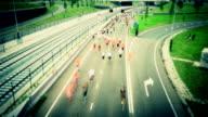 Marathon runners time lapse tilt shift