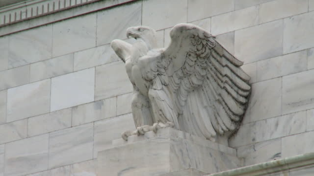 MS Marble eagle at Marriner S. Eccles Federal Reserve Board Building housing main offices of Board of Governors of Federal Reserve System / Washington D.C., USA
