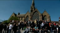 EDL march and rally in Newcastle ENGLAND Tyne and Wear NewscastleuponTyne EXT Various of English Defence League members chanting in city centre SOT /...