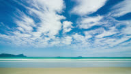 T/L, WS, Mare's tail cirrus clouds above Uretiti Beach, Whangarei, New Zealand