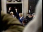 Margaret and Dennis Thatcher wave outside 10 Downing Street following Margaret Thatcher's election as Britain's first woman Prime Minister 04 May 79