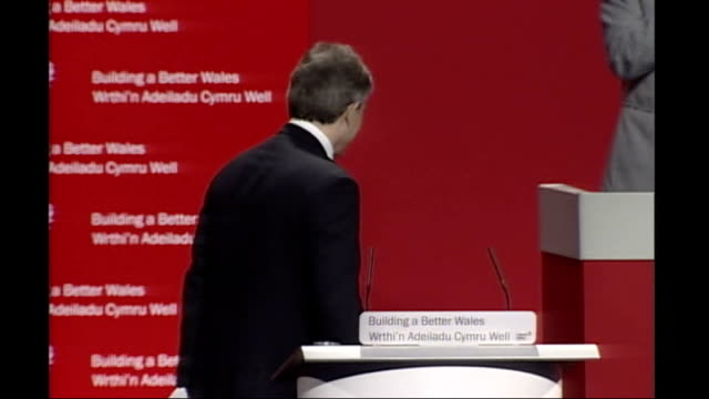 Margaret Beckett tricked by impressionist phone call FILE / R23020702 Llandudno INT Tony Blair PM at podium at Welsh Labour Party conference