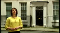 Margaret Beckett tricked by impressionist phone call London Downing Street INT Reporter to camera outside No11 Downing Street