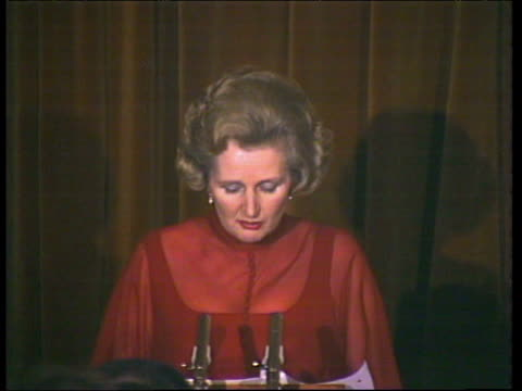 Margaret Thatcher Conservative Party leader explains why she is happy to be called an 'Iron Lady' during speech at constituency dinner London 31 Jan...