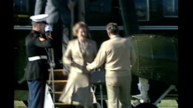 International reaction S17110602 / Camp David **Powell interview partly overlaid SOT** Thatcher out of plane and greeting Ronald Reagan