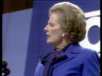 Margaret Thatcher defends Conservative Party policies to tackle unemployment in conference speech Brighton 10 Oct 80